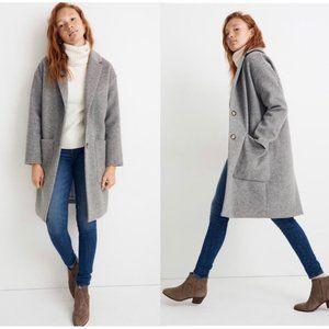 NWT Madewell Elmcourt Wool Button Coat Gray M